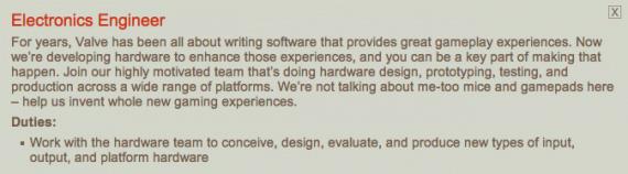 Offre d'emploi au sein de Valve - Le message est clair mais le projet l'est moins